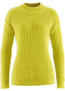 Пуловер с воротником-стойкой и структурным узором (фисташковый) Bonprix