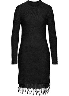 Вязаное платье с кружевной отделкой (черный) Bonprix