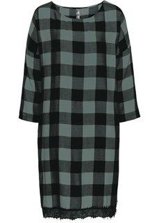 Платье с кружевной отделкой (черный/эвкалиптовый зеленый в клетку) Bonprix