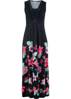 Трикотажное макси-платье (черный в цветочек) Bonprix