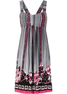 Трикотажное платье (ярко-розовый/черный/серый с принтом) Bonprix