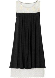 Трикотажное мини-платье с кружевом (черный/цвет белой шерсти) Bonprix