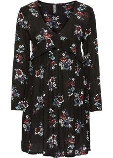 Платье с глубоким вырезом и воланами (черный в цветочек) Bonprix