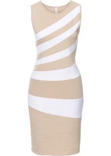 Платье (бежевый/белый) Bonprix