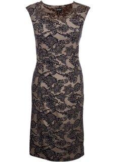 Трикотажное платье с формирующим эффектом (серо-коричневый/с черными узорами) Bonprix