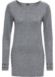 Пуловер с заклепками (серый меланж) Bonprix