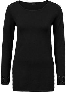 Пуловер с заклепками (черный) Bonprix