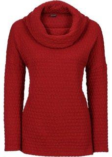 Пуловер с высоким воротом (красный) Bonprix