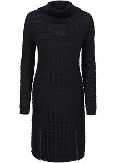 Вязаное платье (черный) Bonprix