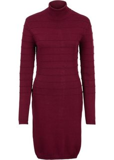 Вязаное платье с высоким воротом (темно-красный) Bonprix