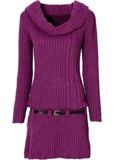 Трикотажное платье и ремень (лиловая фиалка) Bonprix