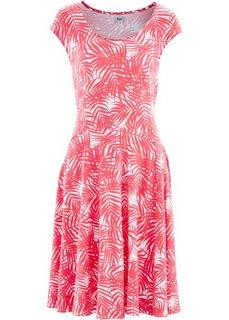 Трикотажное платье (белый/ярко-розовый с рисунком) Bonprix