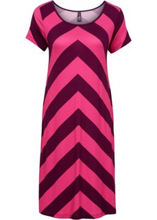 Трикотажное платье (красная ягода/горячий ярко-розовый в полоску) Bonprix