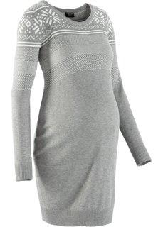 Для будущих мам: вязаное платье с норвежским узором (серый меланж/цвет белой шерсти с узором) Bonprix