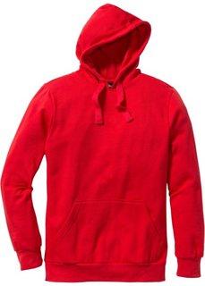 Толстовка стандартного прямого кроя regular fit с капюшоном (красный) Bonprix