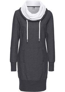 Трикотажное платье с длинным рукавом (шиферно-серый меланж) Bonprix
