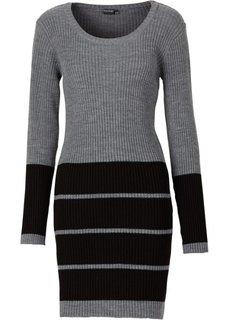 Трикотажное платье (серый меланж/черный) Bonprix