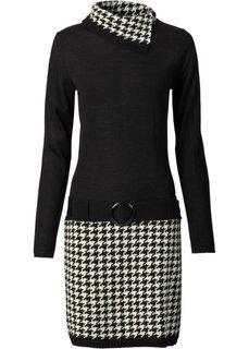 Вязаное платье (черный/кремовый) Bonprix