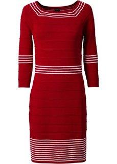 Трикотажное платье (темно-красный/белый) Bonprix