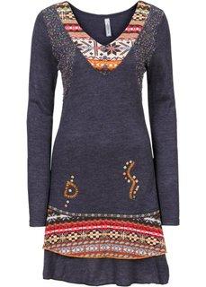 Вязаное платье (синий меланж) Bonprix