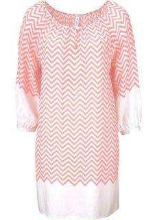 Платье с принтом (нежно-коралловый/цвет белой шерсти) Bonprix