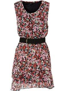 Шифоновое платье + ремень (2 изд.) (черный/дымчато-розовый/серый) Bonprix