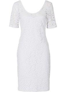 Кружевное платье-футляр (белый) Bonprix
