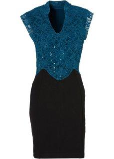 Платье (черный/сине-зеленый) Bonprix