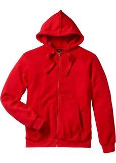 Трикотажная куртка стандартного покроя с капюшоном (клубничный) Bonprix