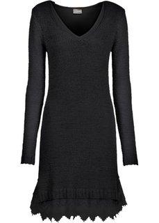 Вязаное платье с кружевными воланами внизу (черный) Bonprix