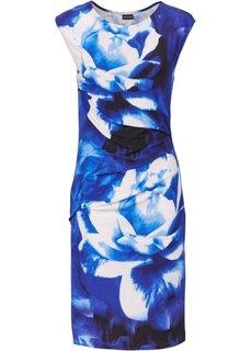 Трикотажное платье (синий в цветочек) Bonprix