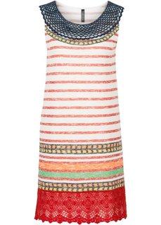 Трикотажное платье с кружевной отделкой (белый/красный/желтый в полоску) Bonprix
