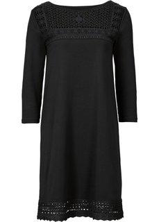 Трикотажное платье с кружевной вставкой (черный) Bonprix