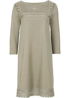 Трикотажное платье с кружевной вставкой (новый хаки) Bonprix