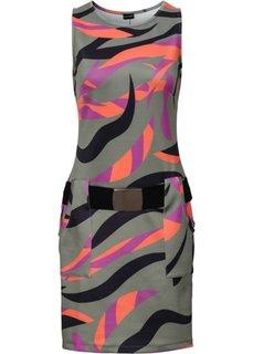 Платье с карманами (оливковый с рисунком) Bonprix