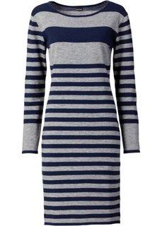 Вязаное платье (серый меланж/темно-синий в полоску) Bonprix