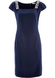 Платье-футляр ПРЕМИУМ со стразами (темно-синий) Bonprix