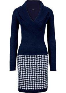 Вязаное платье (темно-синий/цвет белой шерсти) Bonprix