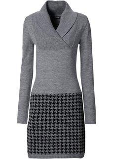 Вязаное платье (серый меланж/черный) Bonprix