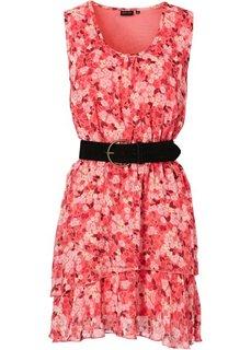 Шифоновое платье + ремень (2 изд.) (нежный ярко-розовый в цветочек) Bonprix