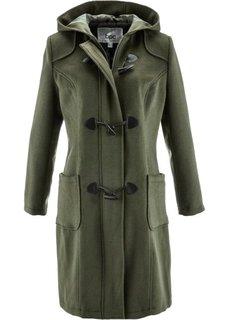 Шерстяное пальто с капюшоном (темно-оливковый) Bonprix