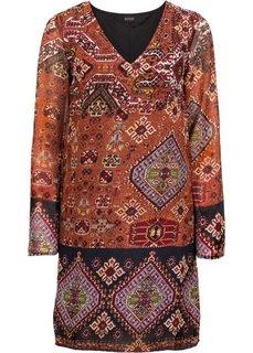 Платье (оранжевый/темно-синий с рисунком) Bonprix