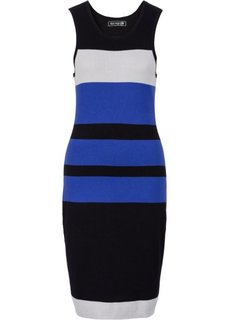 Вязаное платье (черный/синий/серебристый в полоску) Bonprix