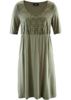 Трикотажное платье с кружевом и коротким рукавом (оливковый) Bonprix