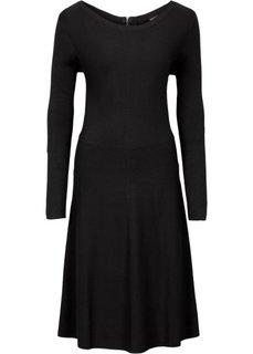Вязаное платье в резинку (черный) Bonprix
