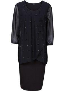 Трикотажное платье с рукавом 3/4 и шифоновой отделкой (черный) Bonprix