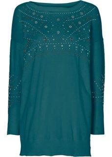 Удлиненный пуловер (сине-зеленый) Bonprix