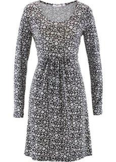 Трикотажное платье с длинным рукавом (черный/белый в цветочек) Bonprix