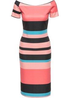 Платье в полоску (черный/ярко-розовый в полоску) Bonprix