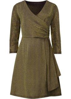 Трикотажное платье с люрексом (черный/золотистый) Bonprix